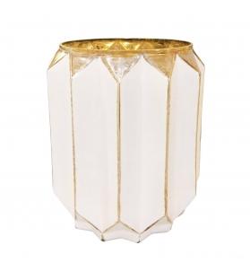 Porta Candela in Vetro Bianco oro h18 cm