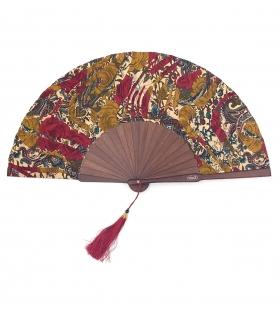 Ventaglio Red Cachemire in tessuto e legno con nappina