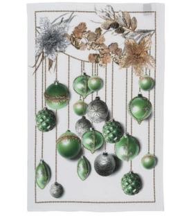 Canovaccio in Lino Glitter Natale Green