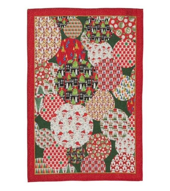 Canovaccio in Lino Spheres Natale Red