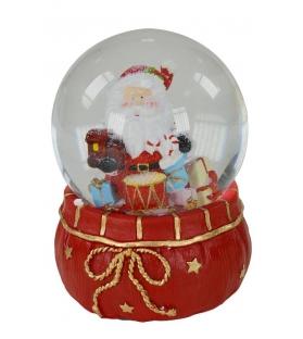 Boule de neige musicale babbo con tamburoCm. 11 x 11 h 14,5