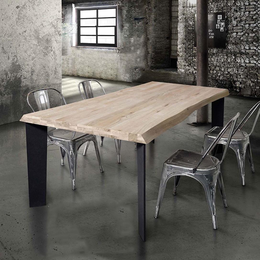 Tavolo industrial massello fisso gambe ferro spessore for Tavoli per cucina in legno