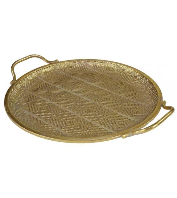 Piatto tondo oro con maniciCm. 43,5 x 37 h 6