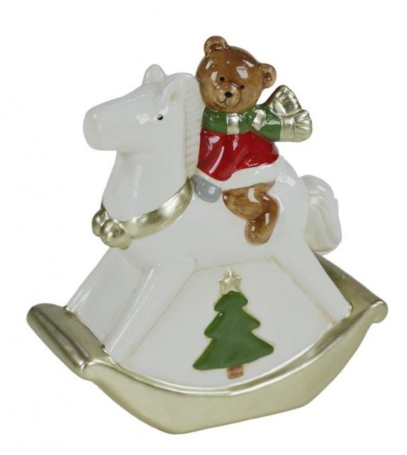 Orsetto ceramica su cavallo a dondolo cm. 15 x 6,5 h 16,5