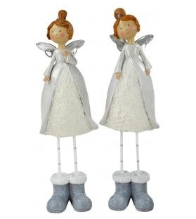 Set 2 angelo c/pelliccia bianca ass.1xsoggettoCm. 12 x 9 h 41