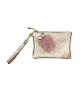 Pochette in pelle lurex Pink Leaf