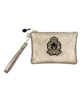 Pochette in pelle lurex Queen Spider