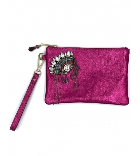 Pochette in pelle lurex Indian Eye Fucsia