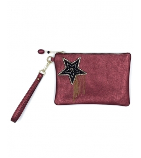 Pochette in pelle lurex Black Star
