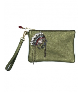 Pochette in pelle lurex Indian Eye Green