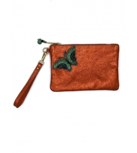 Pochette in pelle lurex Orange Butterfly