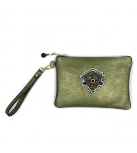 Pochette in pelle lurex Green Crest