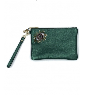 Pochette in pelle lurex Green Eye
