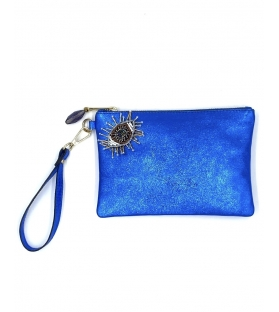 Pochette in pelle lurex Blue Eye