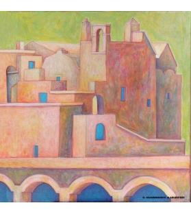 Quadro dipinto Valle d'Itria Trullo 20x20 cm