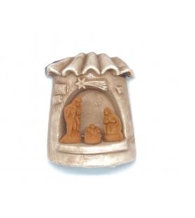Presepe magnete Capanna smaltato in terracotta h 6cm