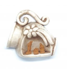 Presepe magnete Giara smaltato in terracotta h 9cm