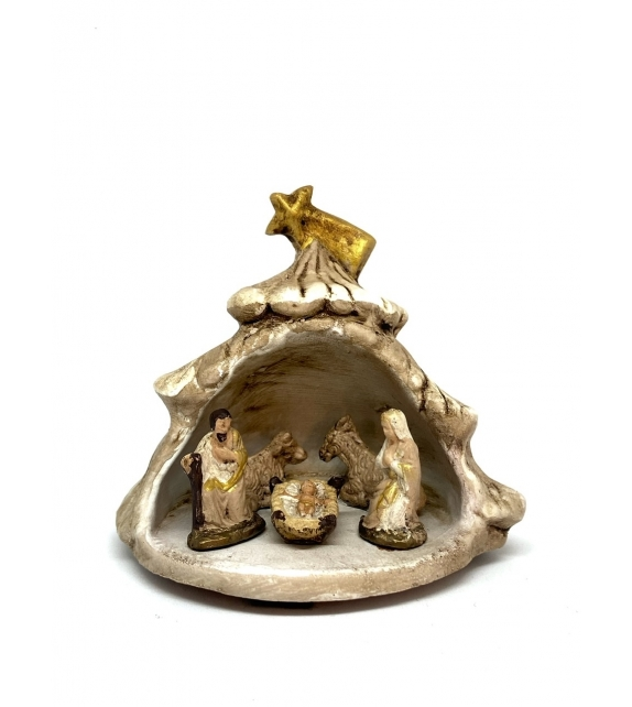 Presepe Albero Capanna Larga in terracotta h 9cm