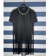 T-shirt Donna con frange lunghe e swarovski