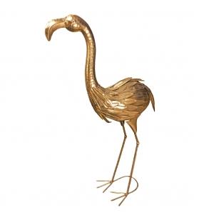Statua Fenicottero Dorato Golden Flamingo h85 cm