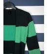 Cardigan a fasce nero verde con cinta