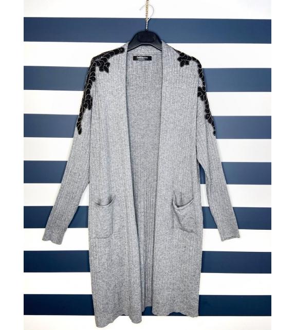Cardigan con tasche grigio