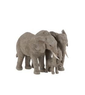Statua Coppia elefanti con figlio