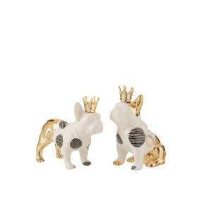 Bulldog ceramica bianco oro - 2 modelli assortiti