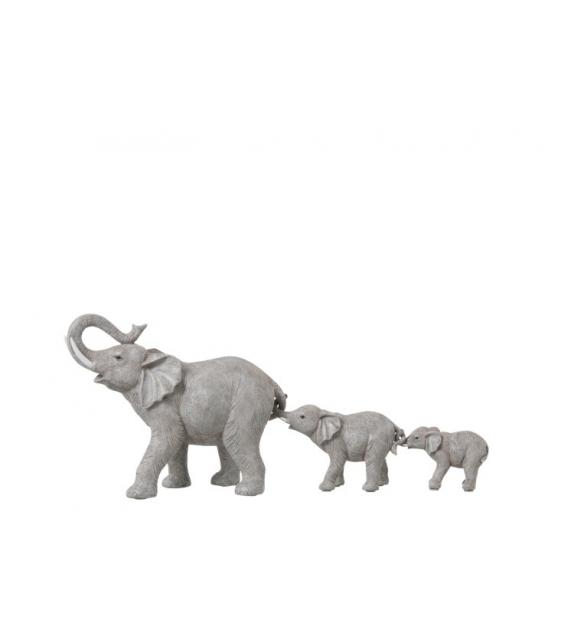 Statua elefanti in fila resina 57x17,5x24cm