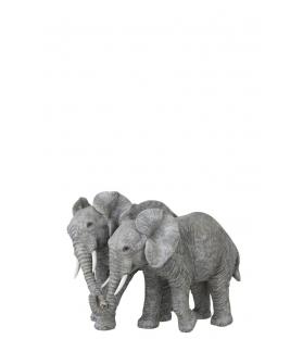 Statua coppia elefanti in amore resina 25x18x19cm