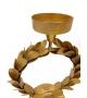 Candeliere con foglie tondo metallo dorato