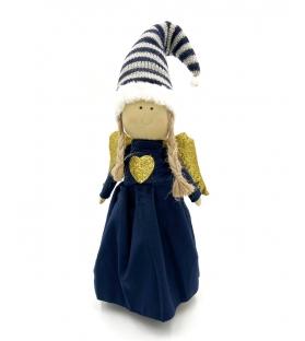 Angelo con cappello blu cuore oro
