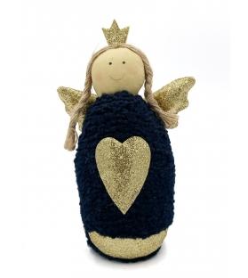 Angelo Blu con cuore oro ferma porta
