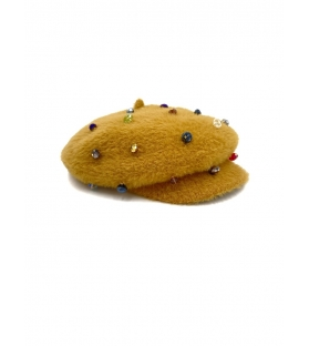 Basco donna con swarovski giallo ocra