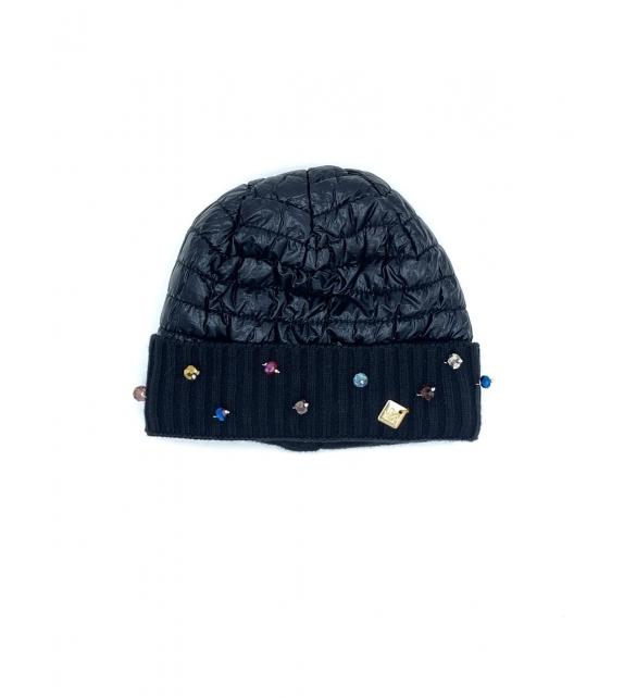 Cappello berretto donna lucido con swarovski nero