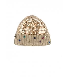 Cappello berretto donna lucido con swarovski oro rosato