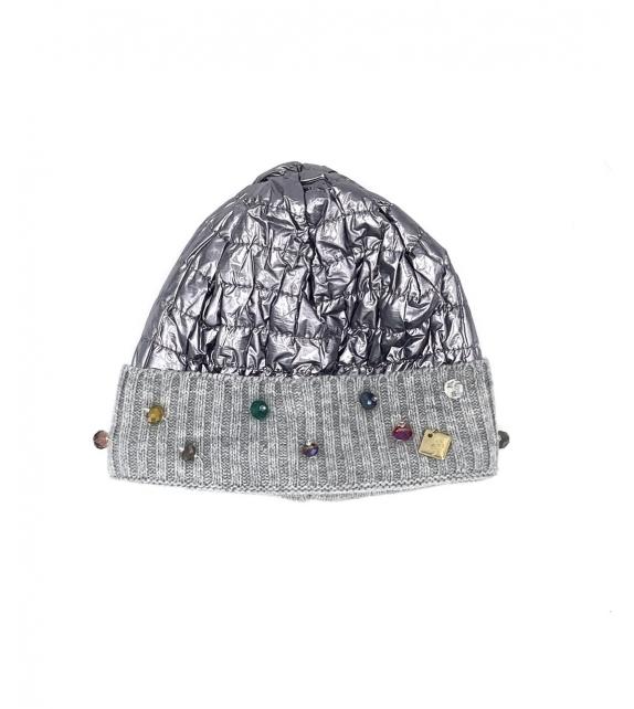 Cappello berretto donna lucido con swarovski oro argento