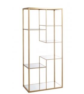 Scaffale 5 ripiani oro metallo vetro 177x82x42,5 cm