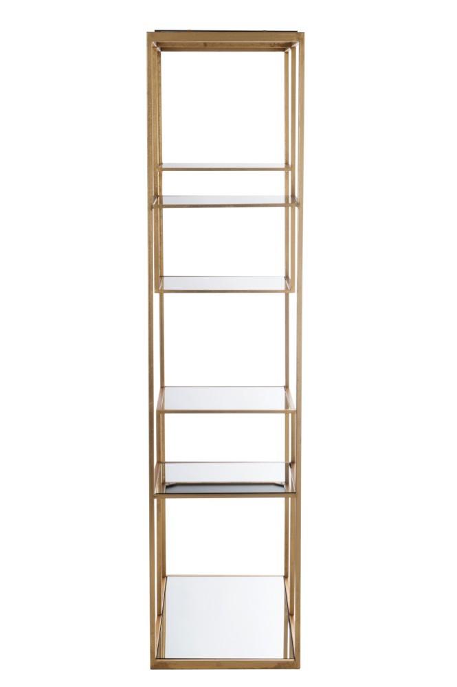 Libreria Metallo E Vetro.Scaffale 5 Ripiani Oro Metallo Vetro 177x82x42 5 Cm