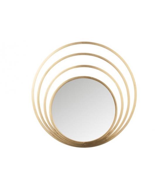 Specchio 4 cerchi rotondo metallo oro vetro