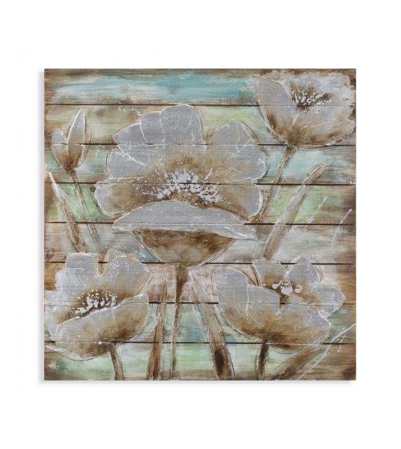 Dipinto su legno flower in time cm 80x4x80