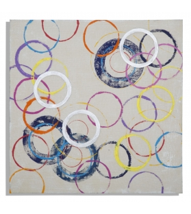 Dipinto su tela floating circles -a- cm 80x3x80