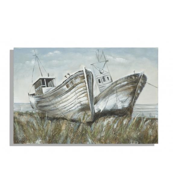 Dipinto su tela barche cm 120x3,7x80