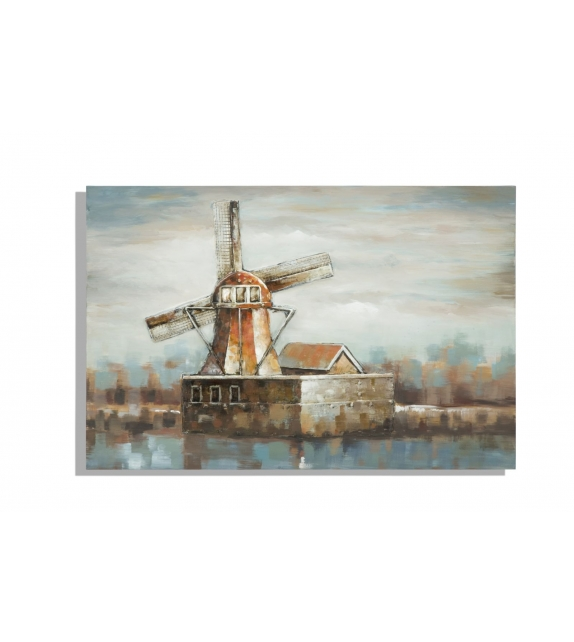 Dipinto su tela mulino a vento cm 120x3,7x80