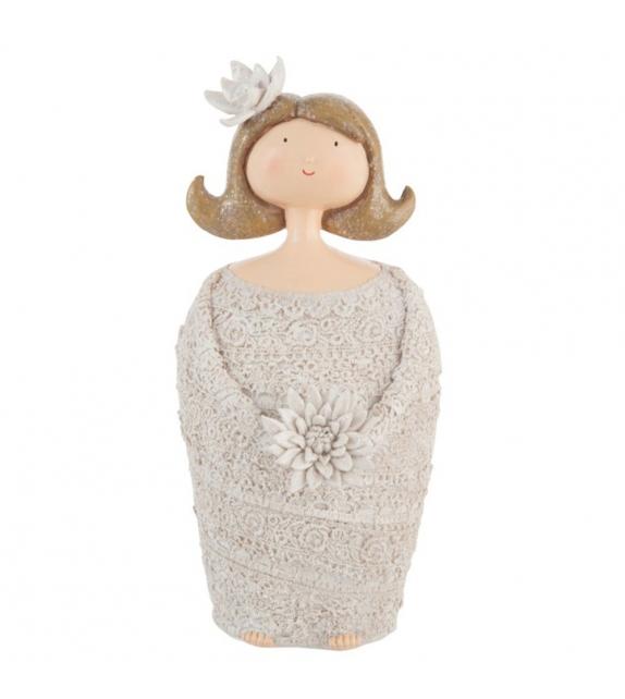 Donna con fiore Statua resina H 25cm