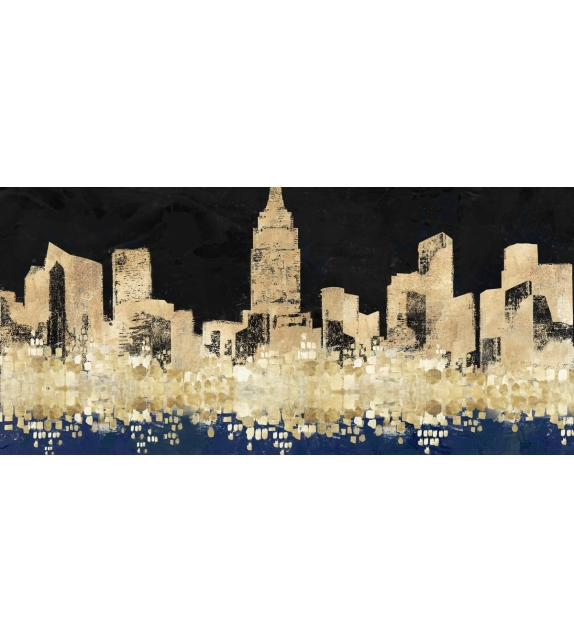 Dipinto su tela golden city cm 150x3,8x70