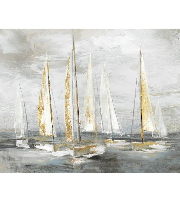 Dipinto su tela gold boat cm 100x2,8x80