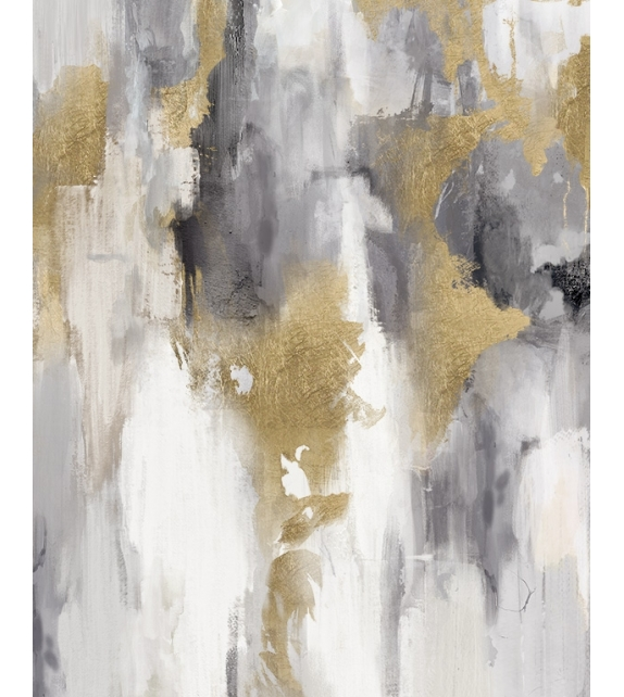 Dipinto su tela grey/gold cm 80x2,8x100