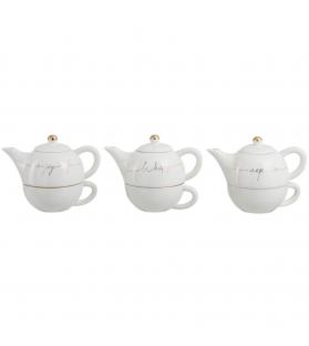 Teiera Porcellana Bianco oro - 3 Modelli assortiti