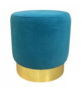 Pouf cilindro blu petrolio base ottone satinato 42x42x43 cm